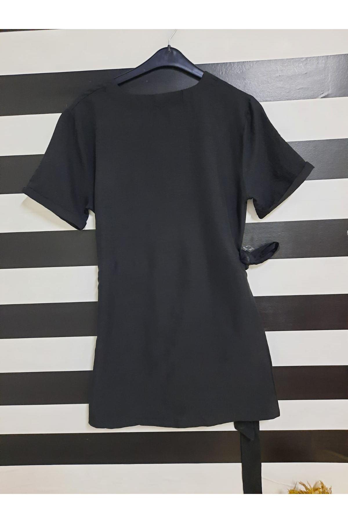 Belden Bağlamalı Elbise - SİYAH