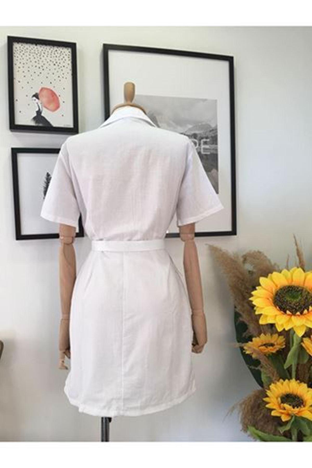 Cep Detaylı Keten Elbise - BEYAZ