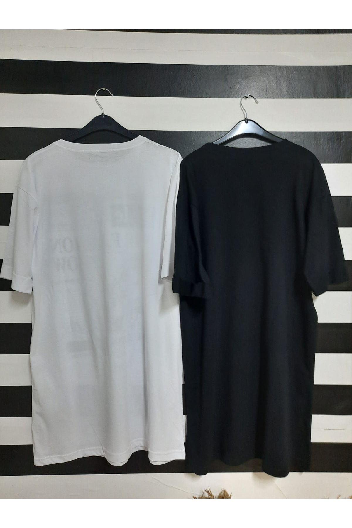 Baskılı Tunik Elbise - SİYAH
