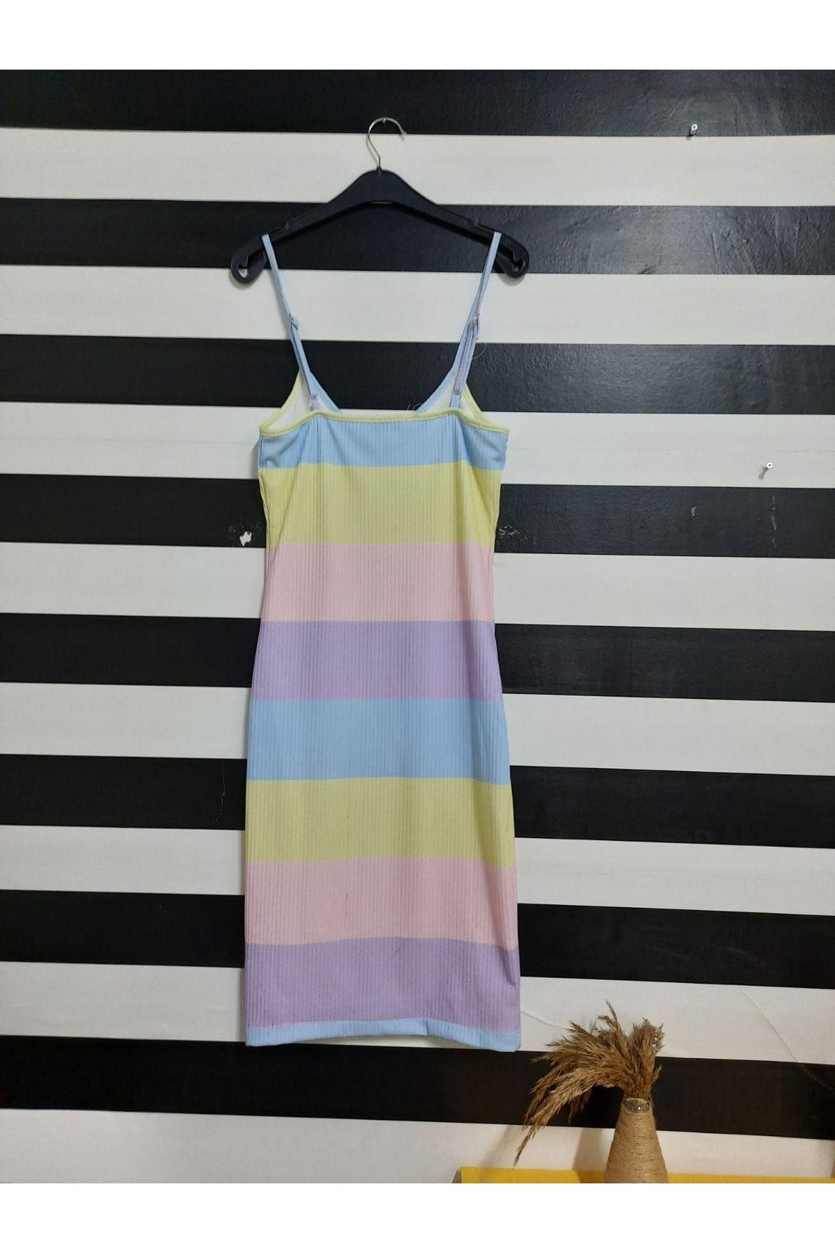 Renkli Askılı Kaşkorse Elbise - MULTİ