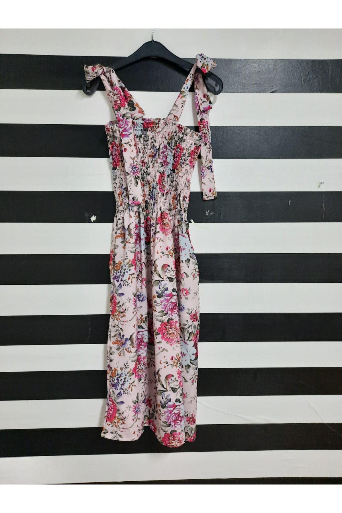 Gipeli Omuz Bağlamalı Elbise - PUDRA