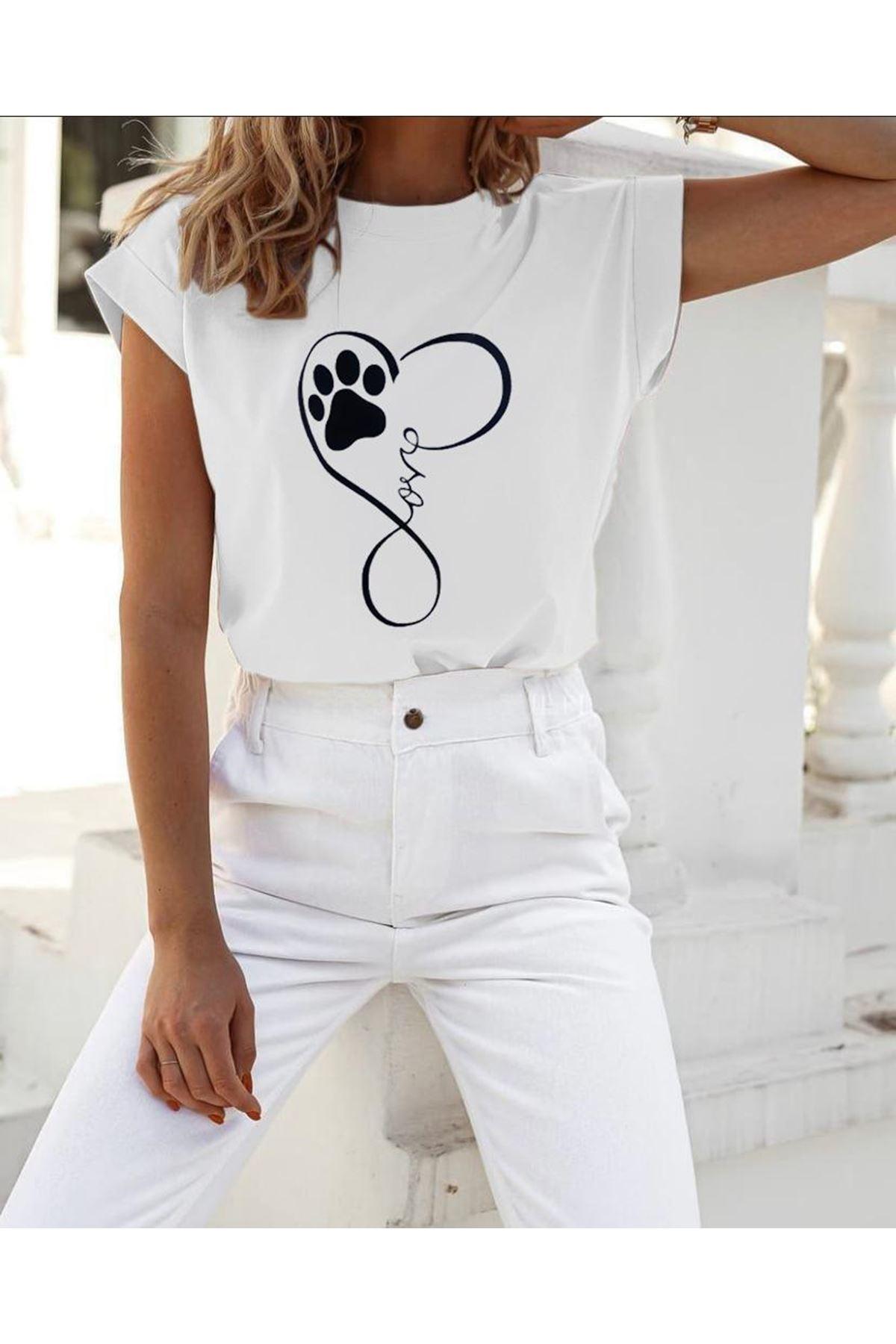 Pati Love Baskılı T-shirt  - BEYAZ