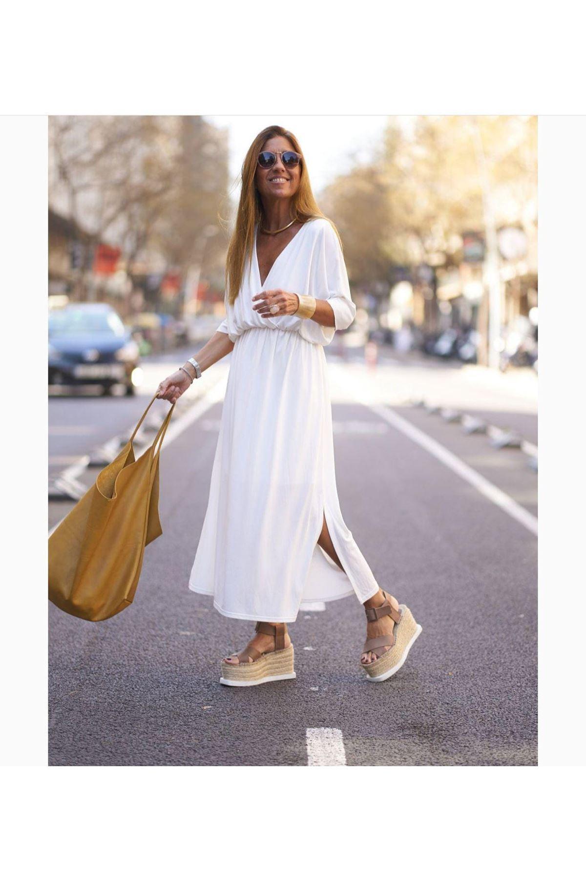 V Yaka Yırtmaç Detaylı Viskon Elbise - BEYAZ