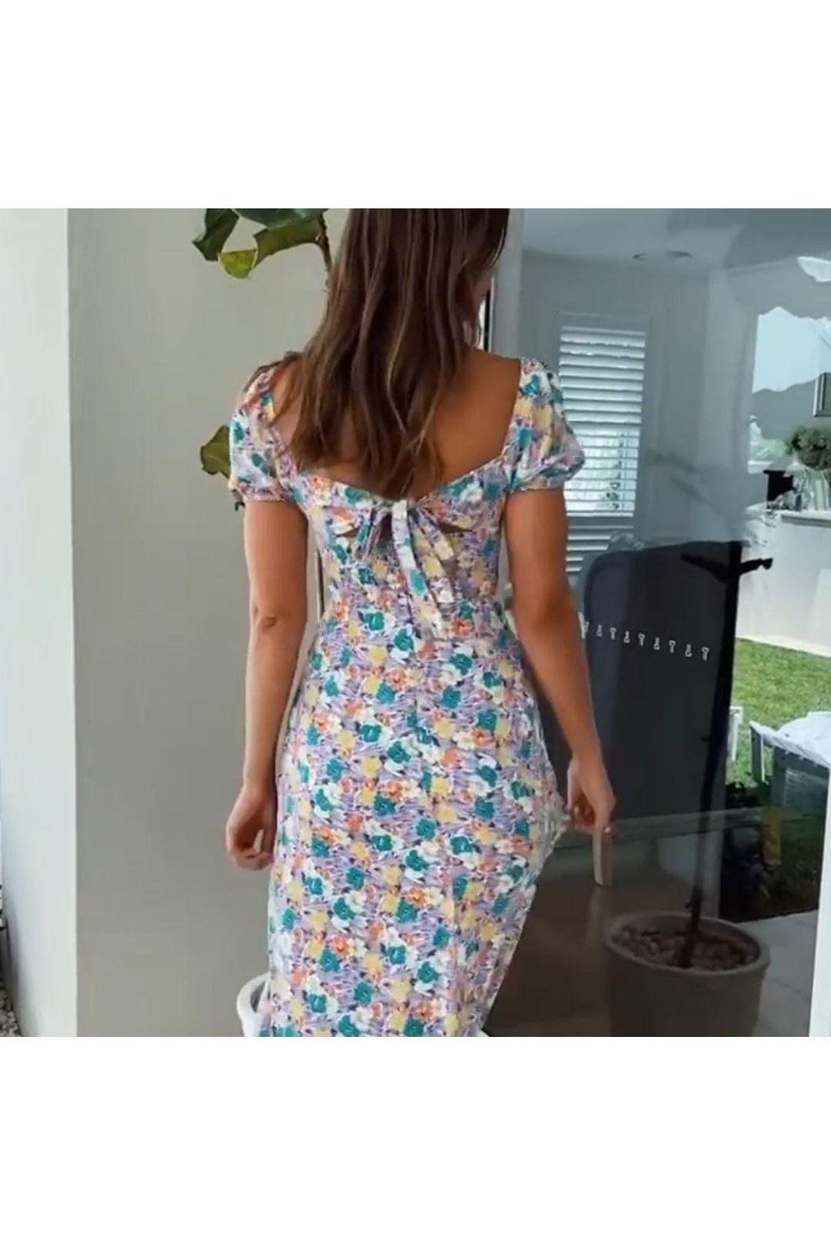 Sırt Bağlamalı Yırtmaç Detaylı Elbise - MAVİ