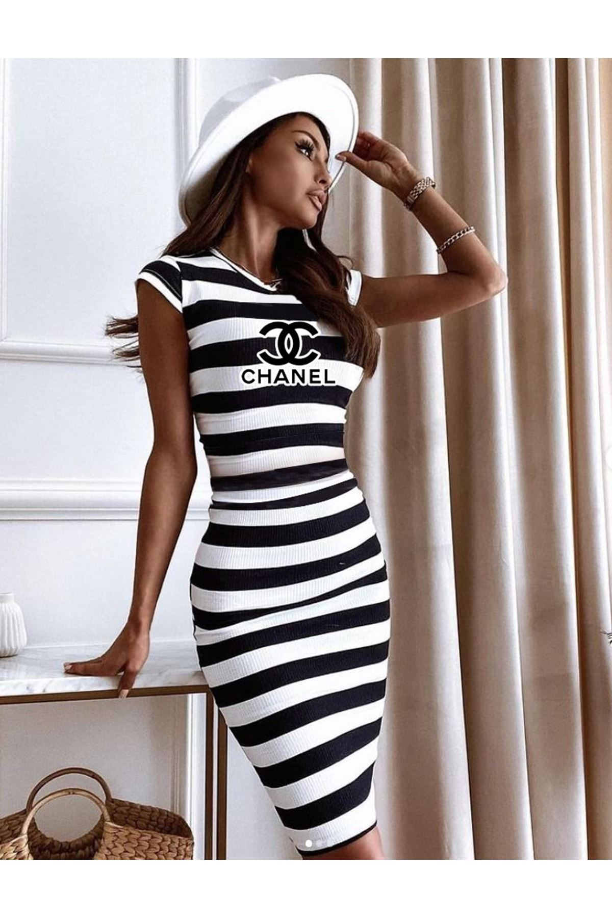 CC Model Çizgili Kaşkorse Elbise - MULTİ