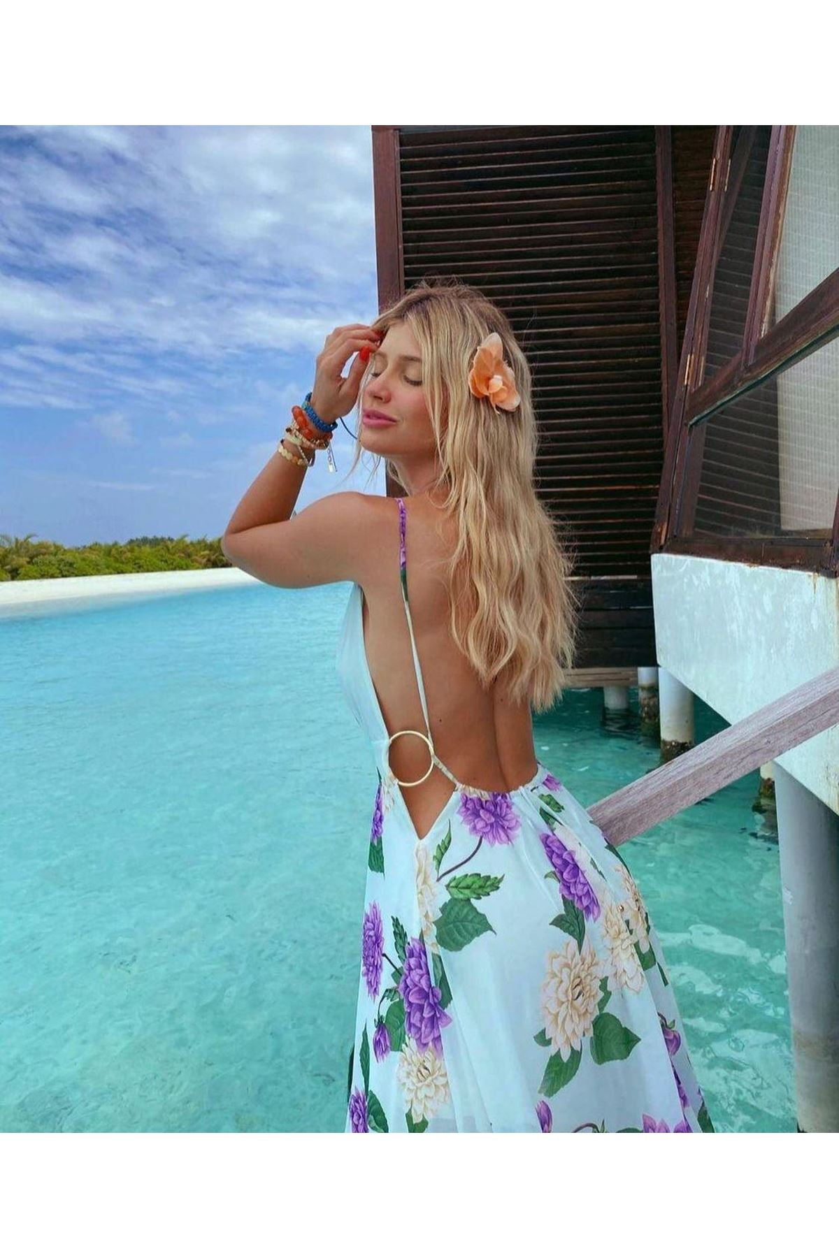 Sırt Halka Detaylı Astarlı Maxi Elbise - MAVİ