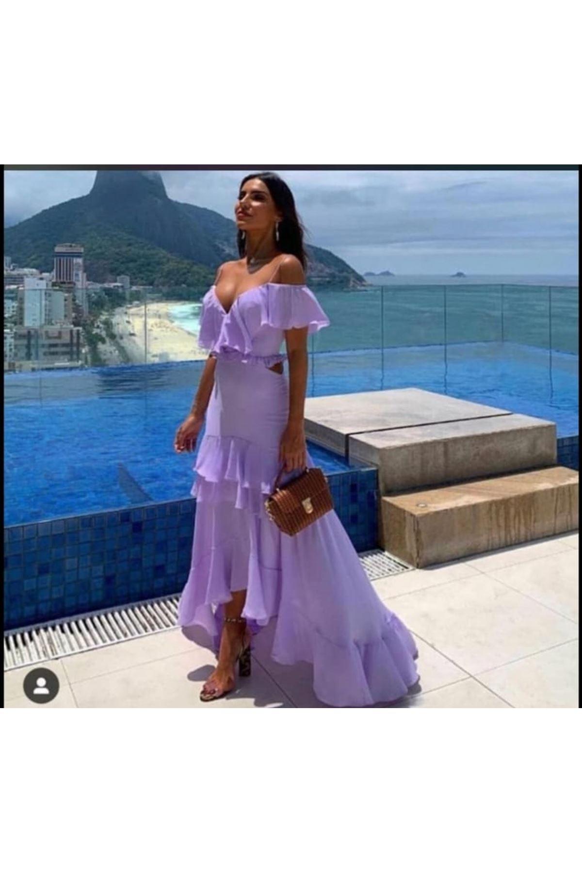 Dekolte Detaylı Asimetrik Maxi Elbise - LİLA