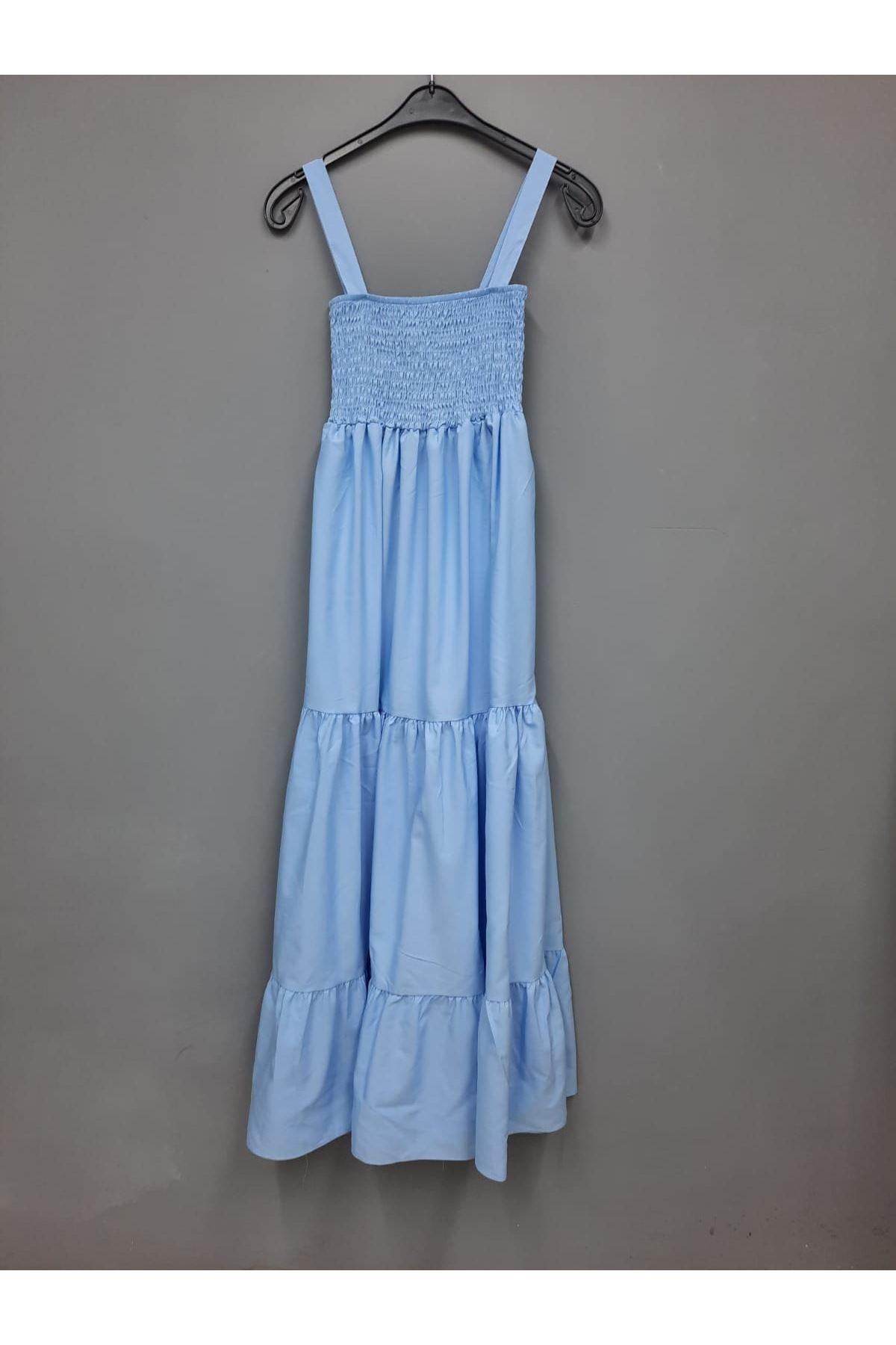 ZR Model Gipeli Elbise - MAVİ