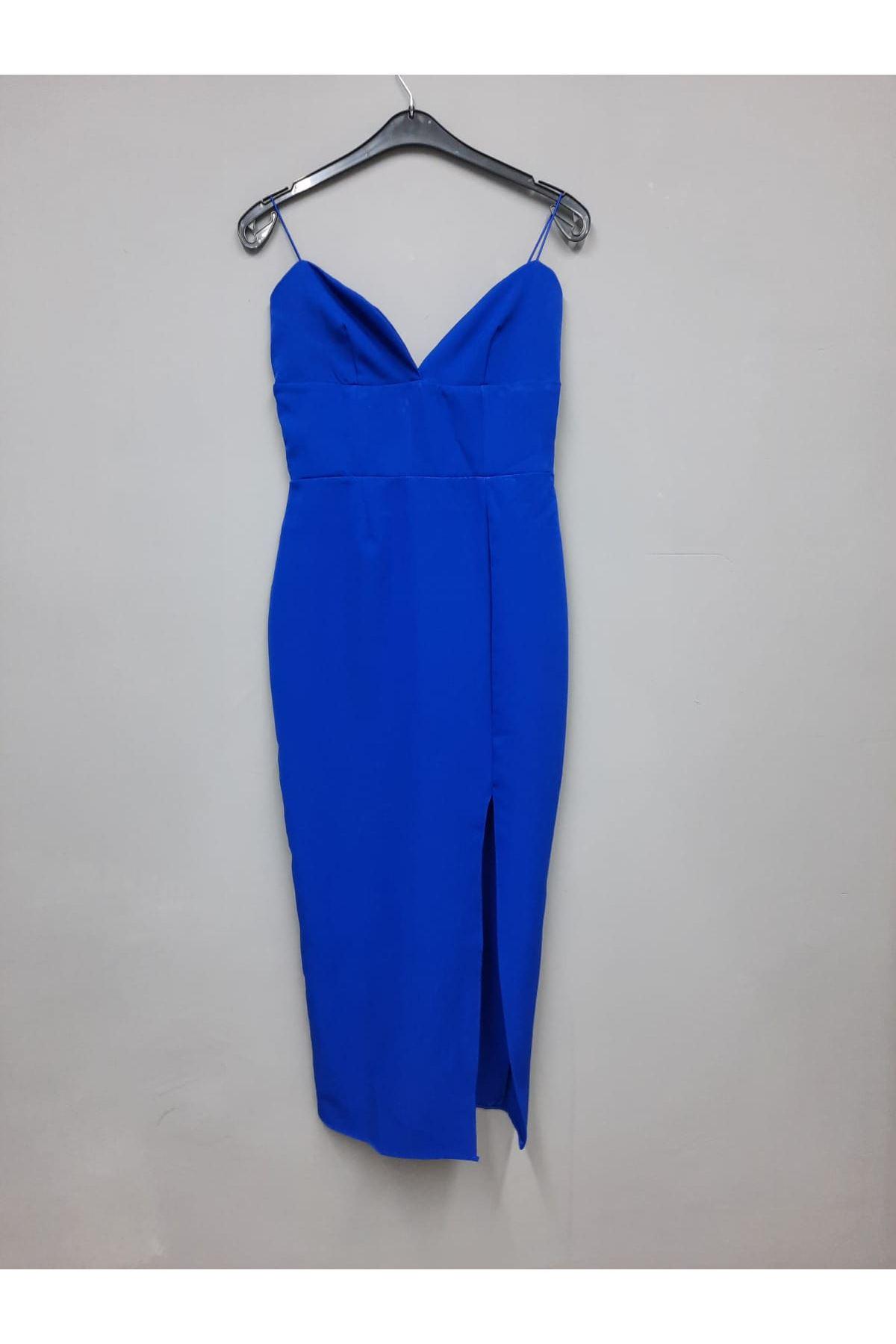 Yırtmaç Detaylı V Yaka Askılı Elbise - MAVİ