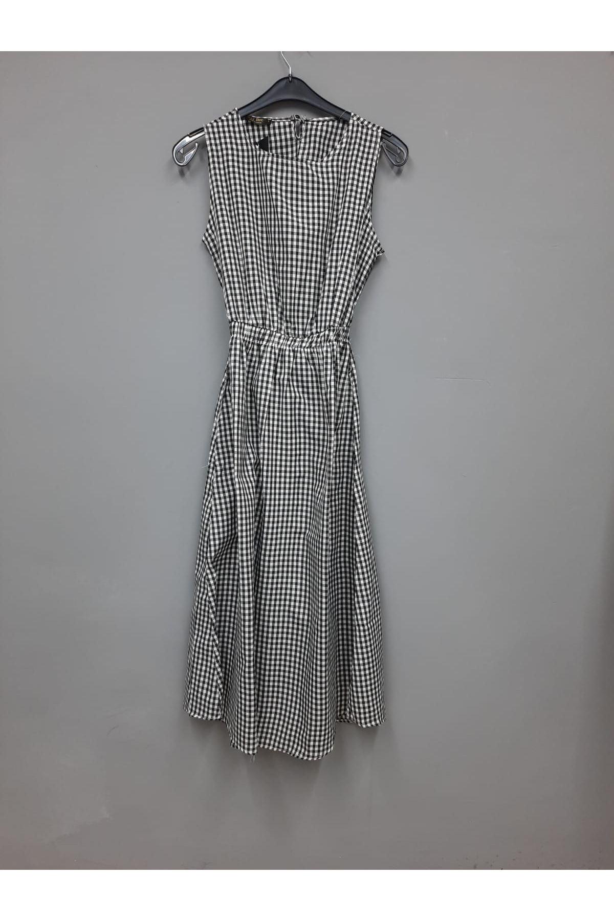 Pitikare Desen Garnili Elbise- SİYAH