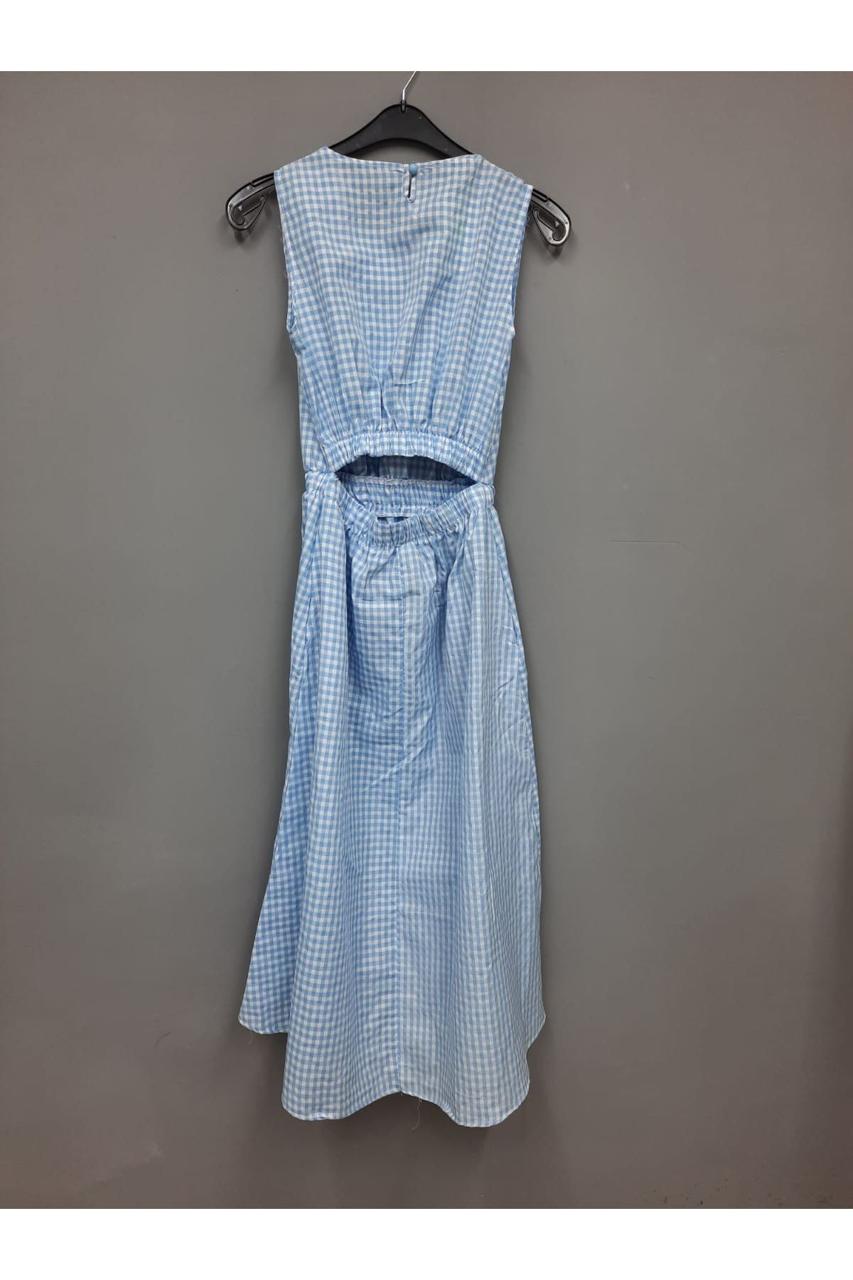 Pitikare Desen Garnili Elbise- MAVİ