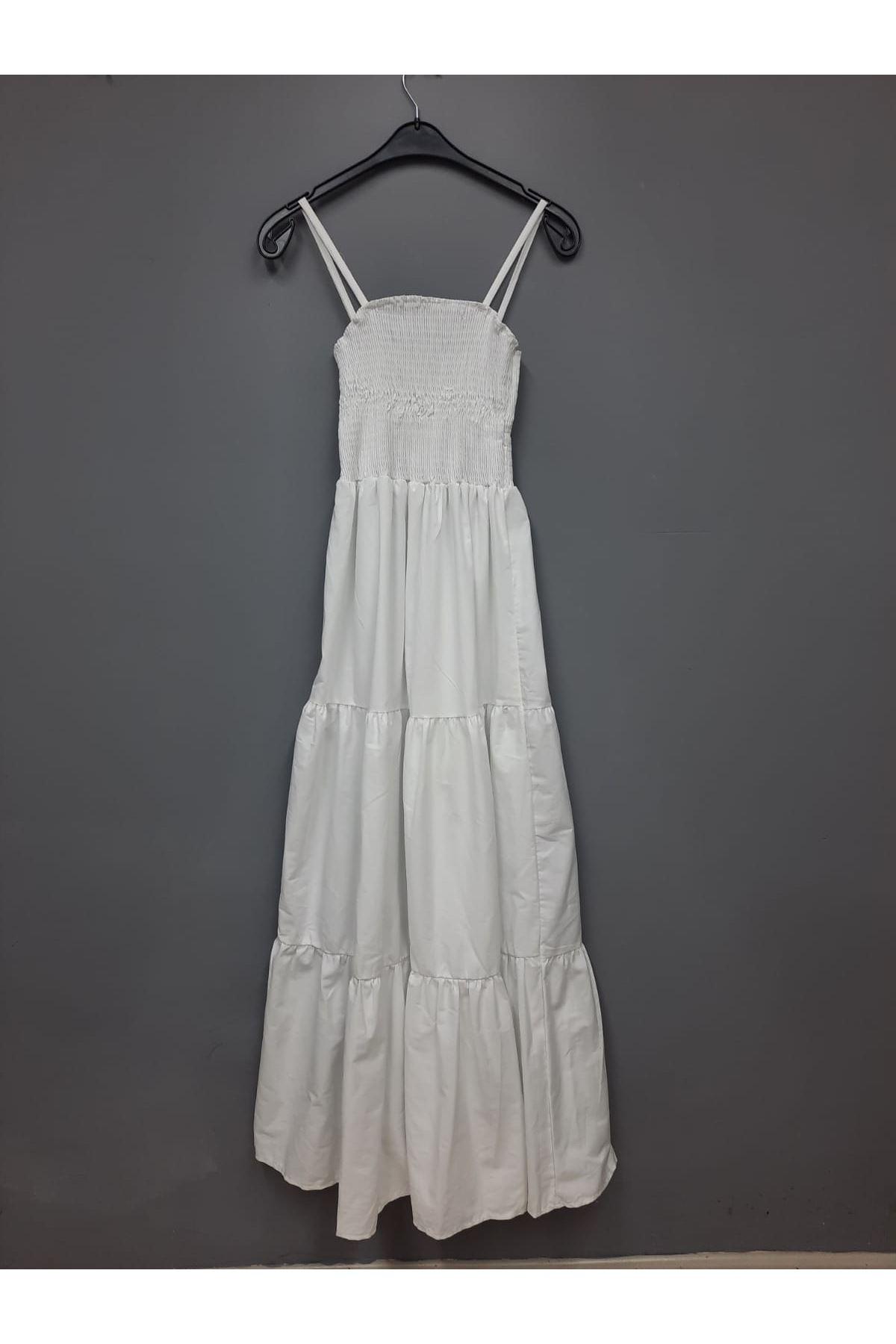 Gipe Detaylı Askılı Elbise -  BEYAZ