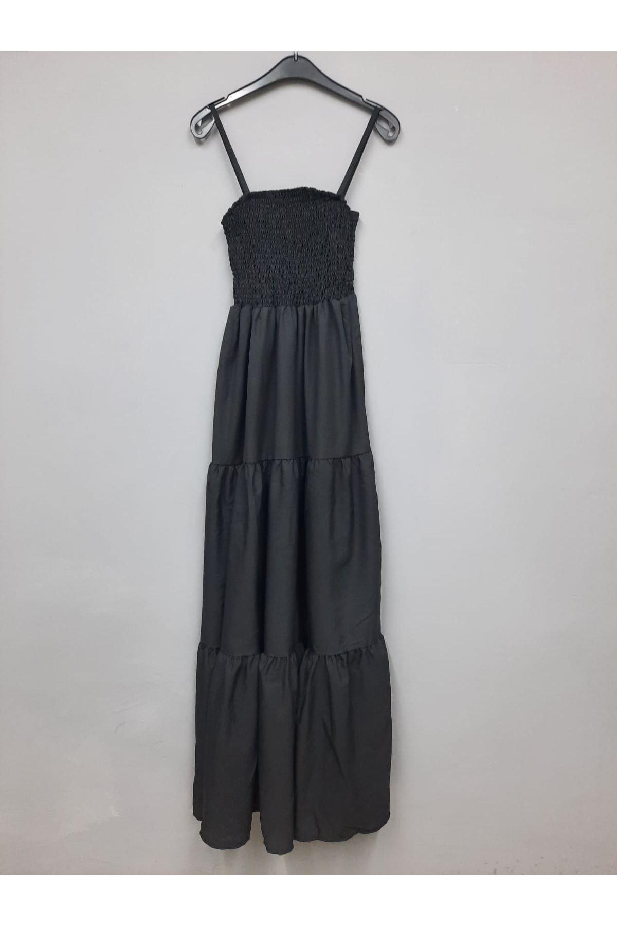 Gipe Detaylı Askılı Elbise -  SİYAH