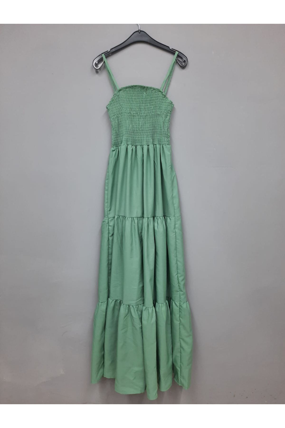 Gipe Detaylı Askılı Elbise -  MİNT