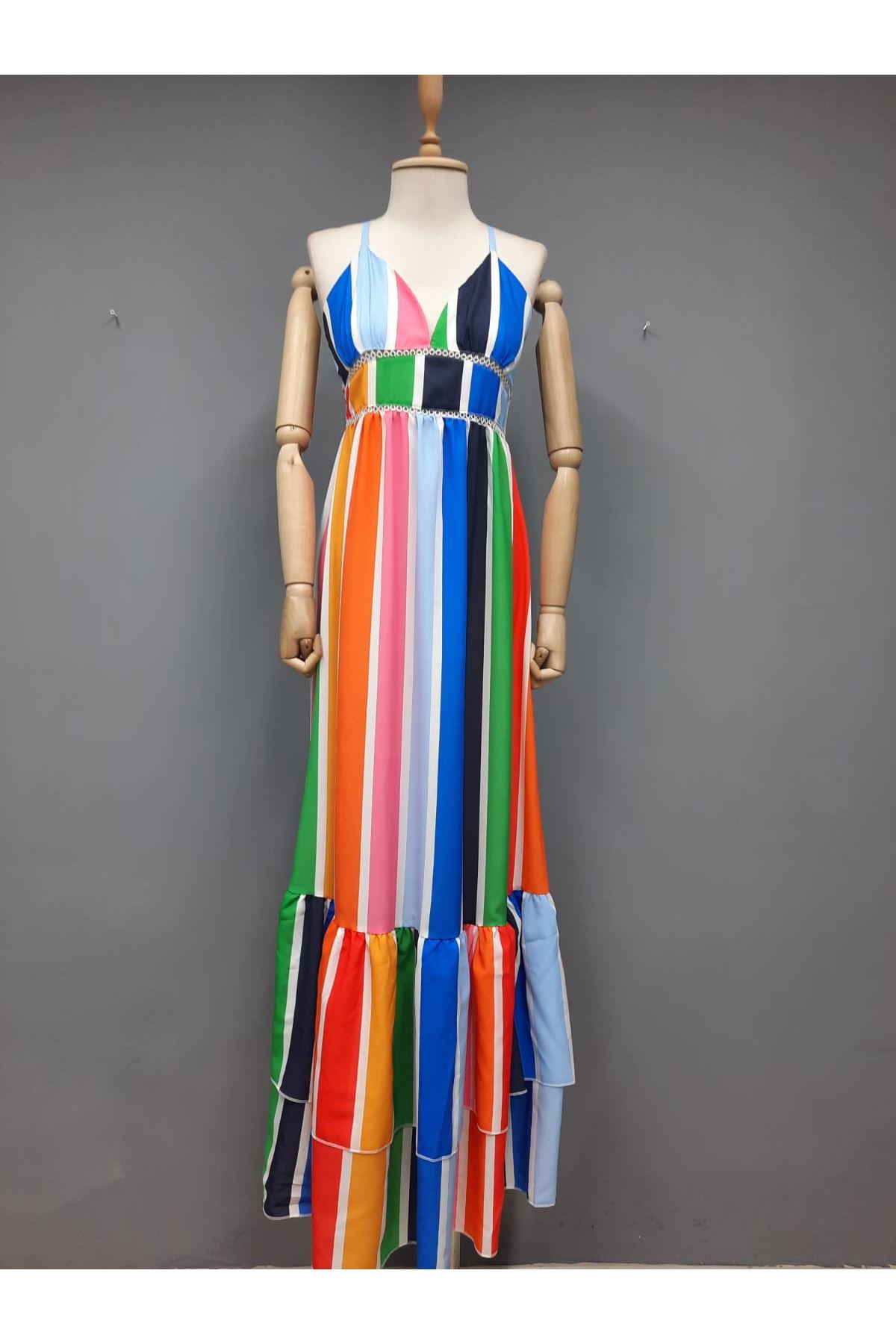 Çizgi Desen Renkli Ottom Elbise - MULTİ