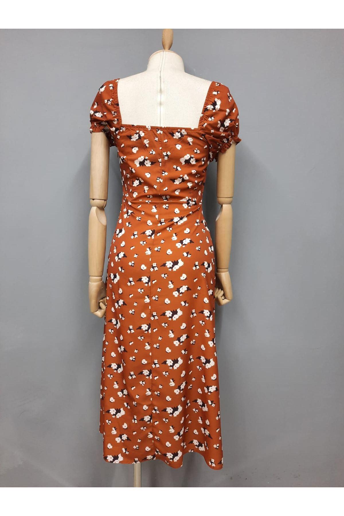 U Yaka Yırtmaç Detaylı Elbise - TABA