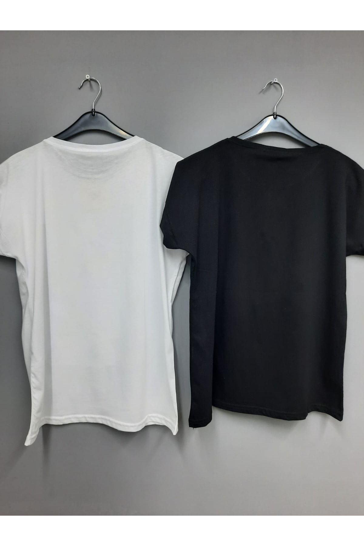 Baskılı Kısa Kol Tshirt - BEYAZ