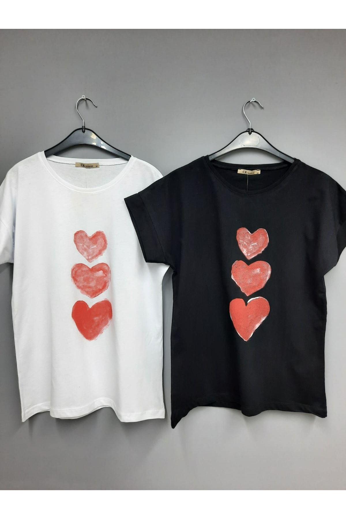 Üçlü Kalp Baskılı Tshirt - SİYAH