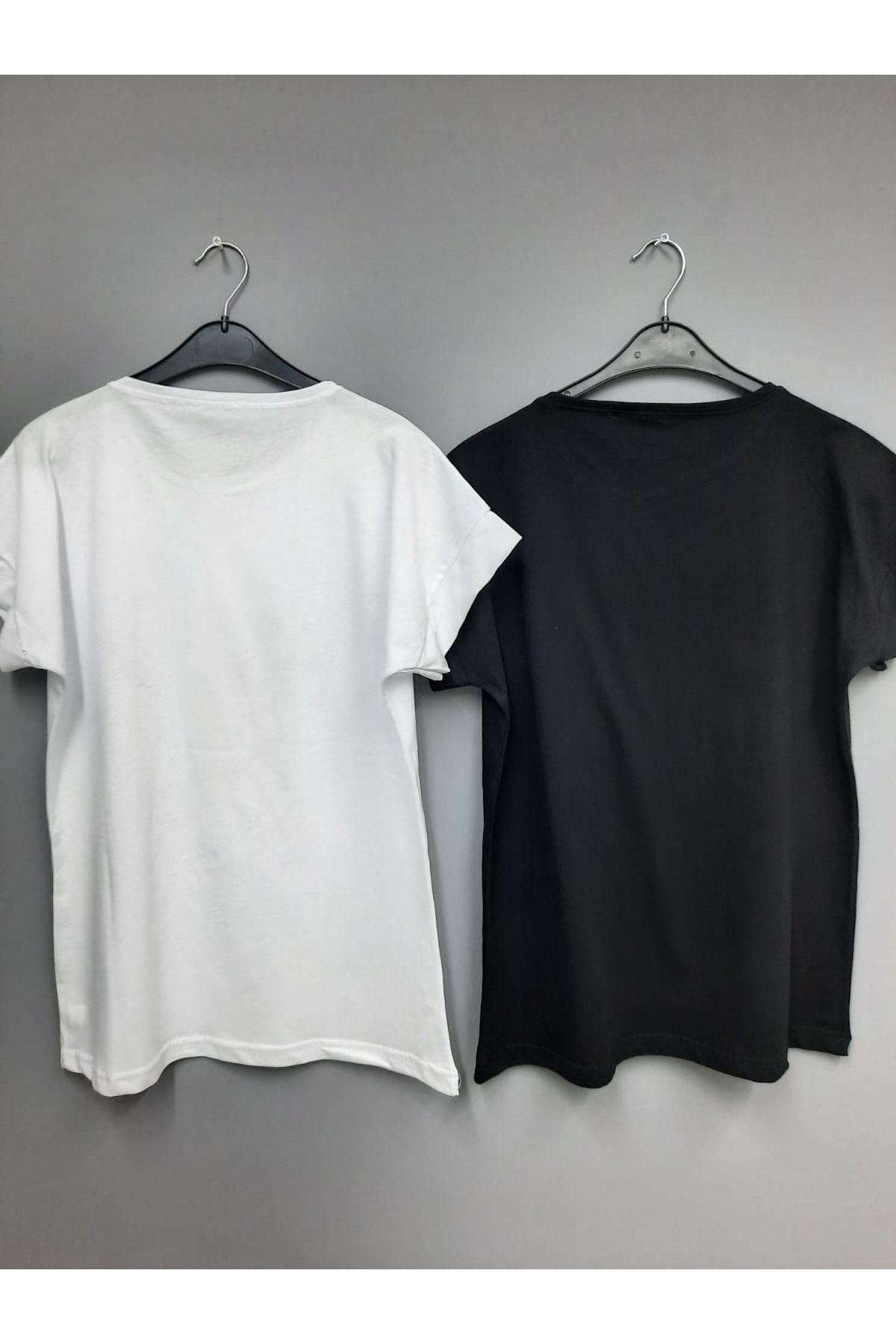 Üçlü Kalp Baskılı Tshirt - BEYAZ