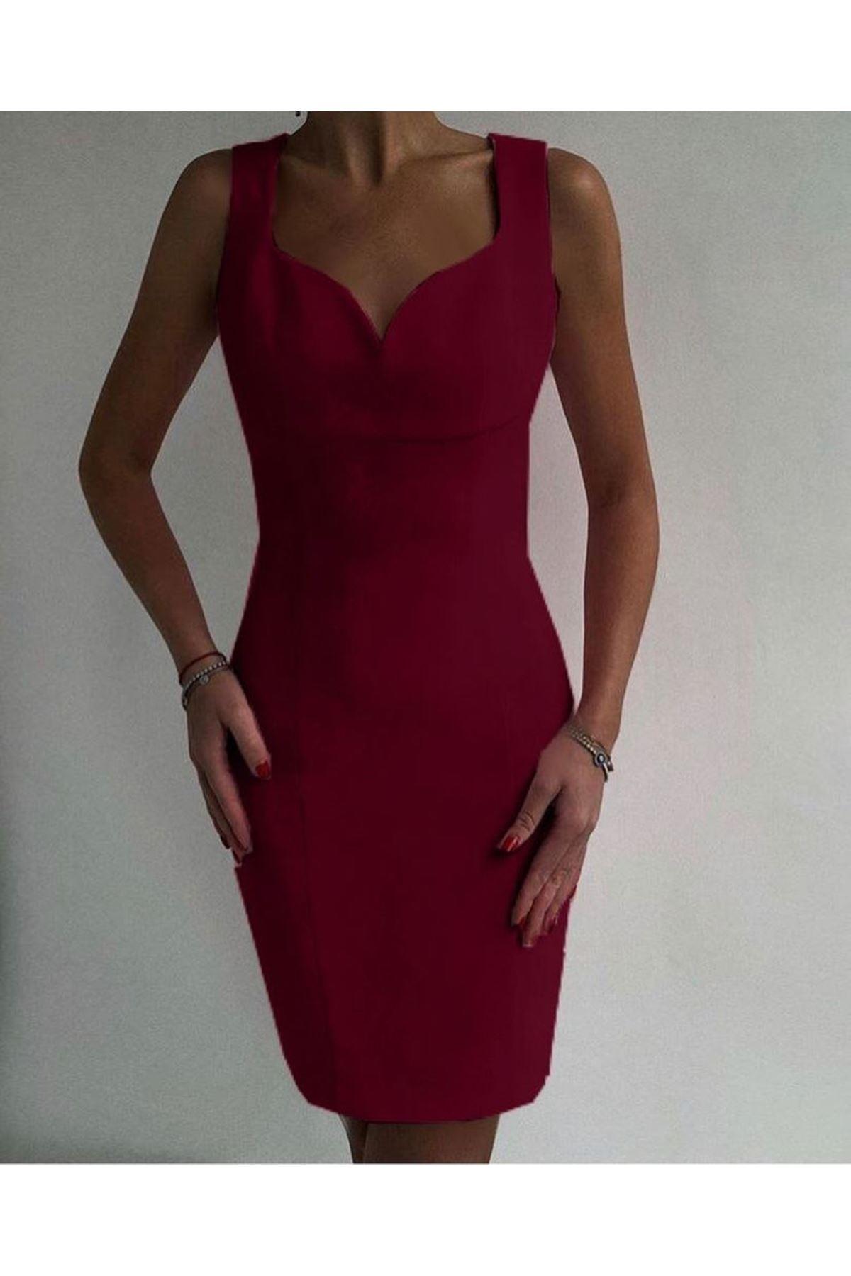Kalp Yaka Scuba Elbise - BORDO