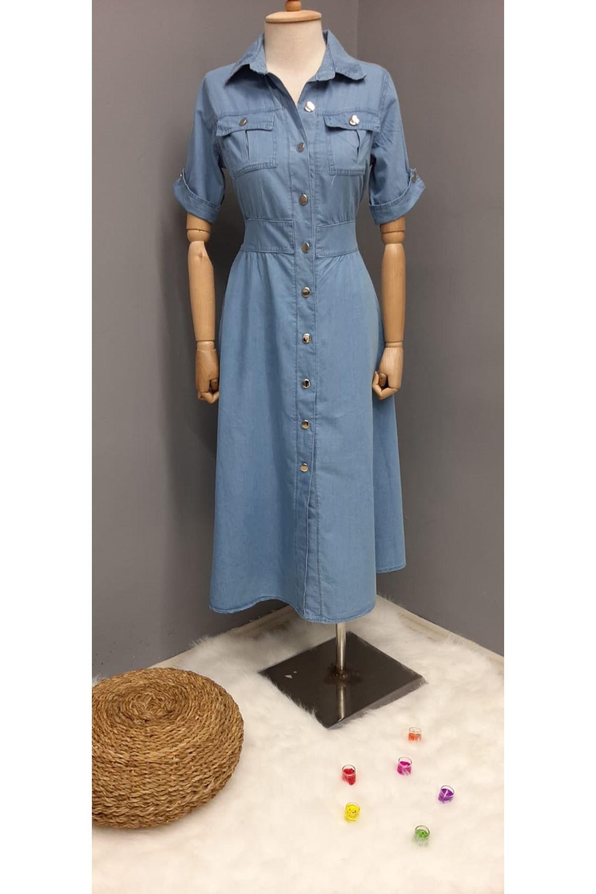 Kot Kumaş Gömlek Elbise - MAVİ