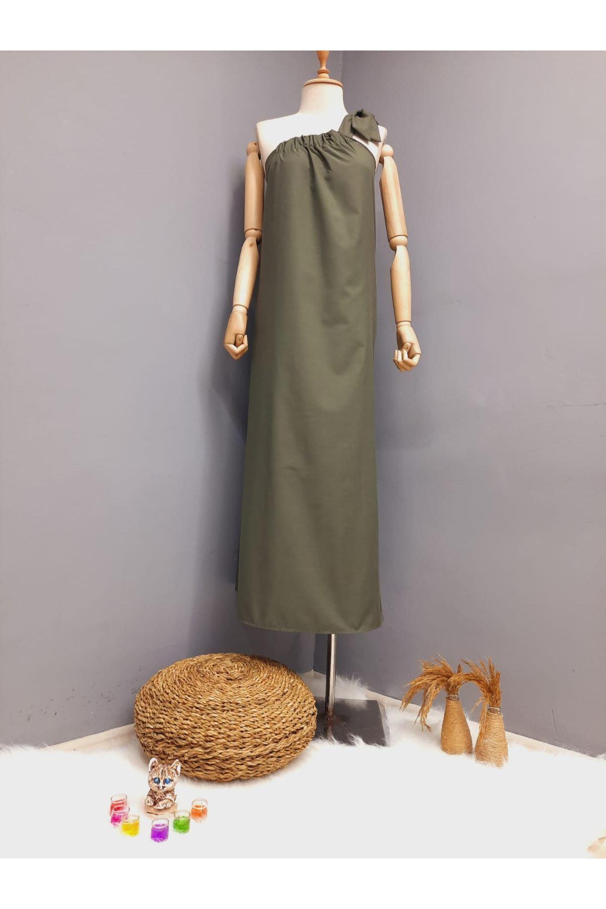 Tek Omuz Bağlamalı Elbise - HAKİ