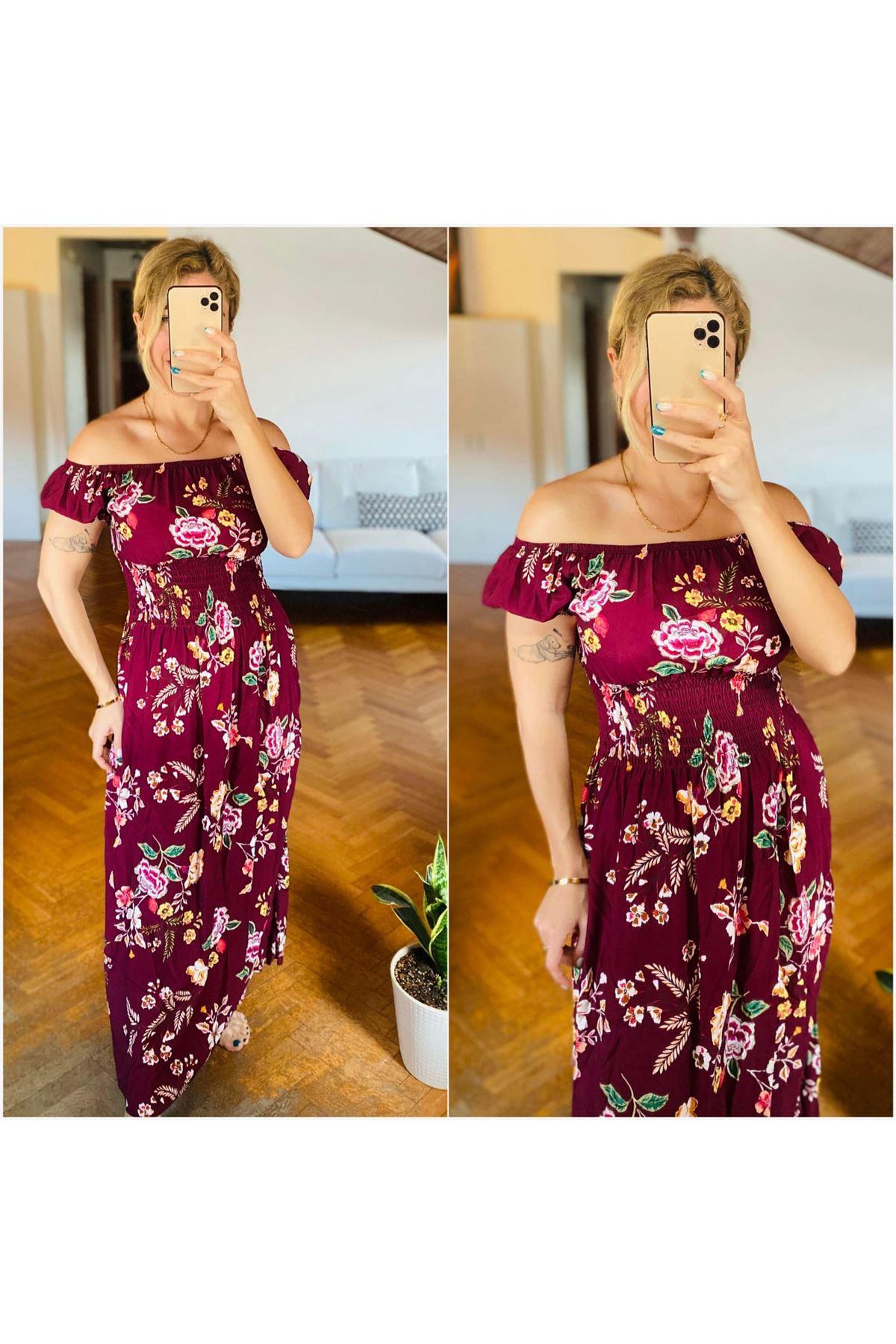 Madonna Yaka Çiçek Desen Elbise - BORDO