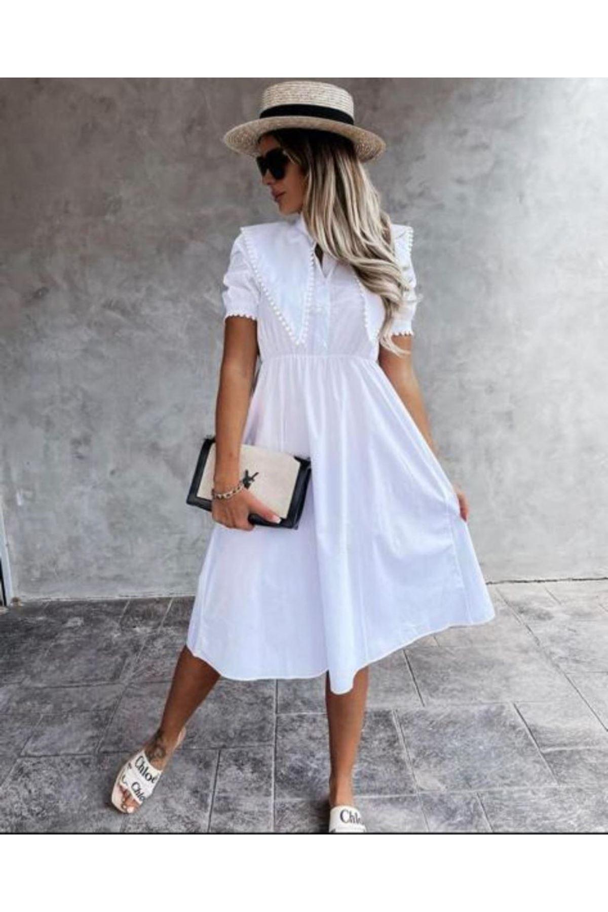 Yaka Detaylı Poplin Gömlek Elbise - BEYAZ