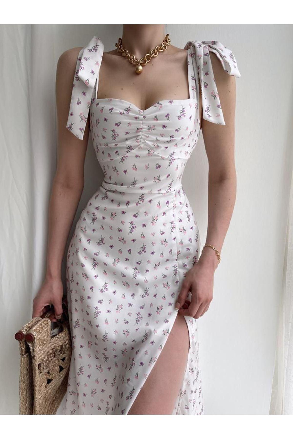 Yırtmaç Detaylı Omuz Bağlamalı Elbise - BEYAZ