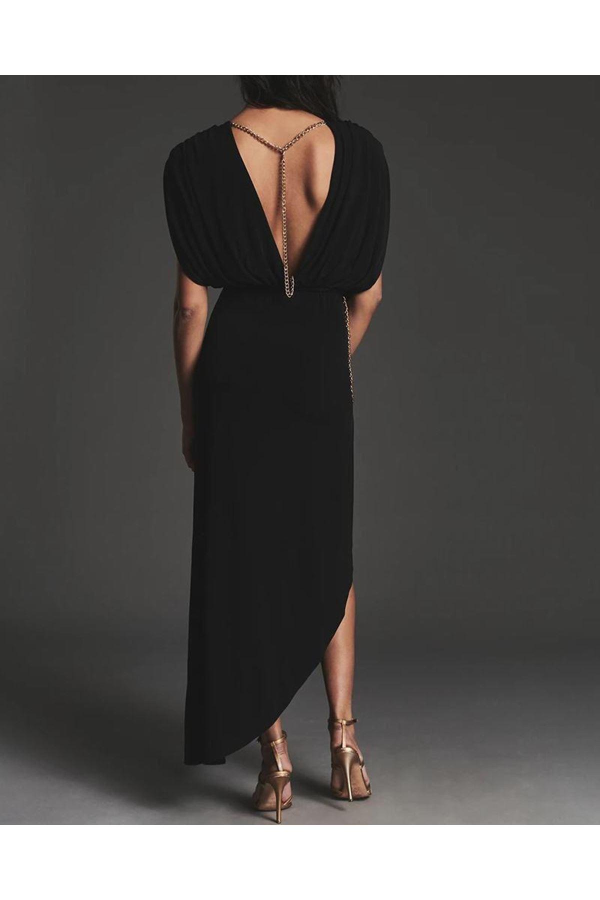 Zincir Detaylı Sırtı Açık Viskon Elbise - SİYAH
