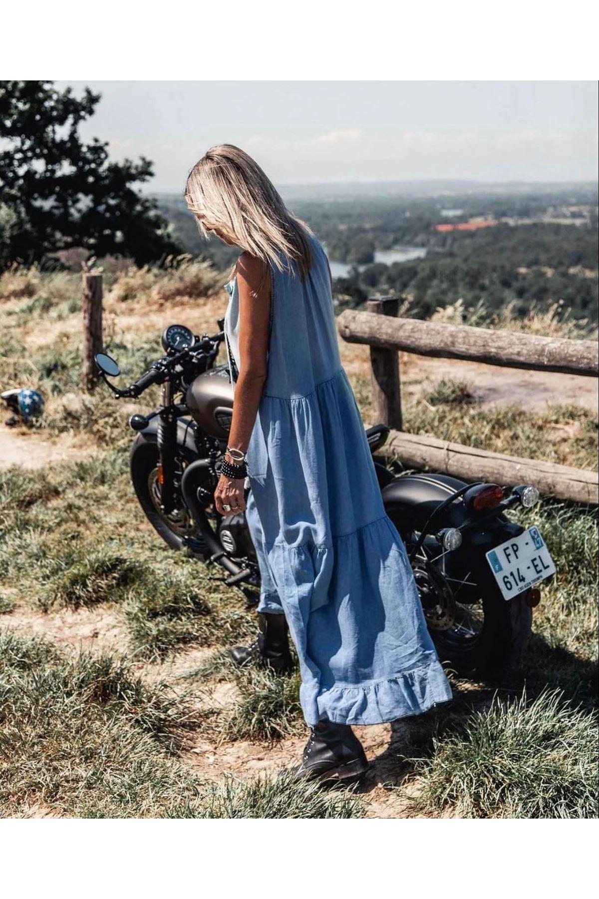 Sıfır Kol Tensel Kot Elbise - MAVİ