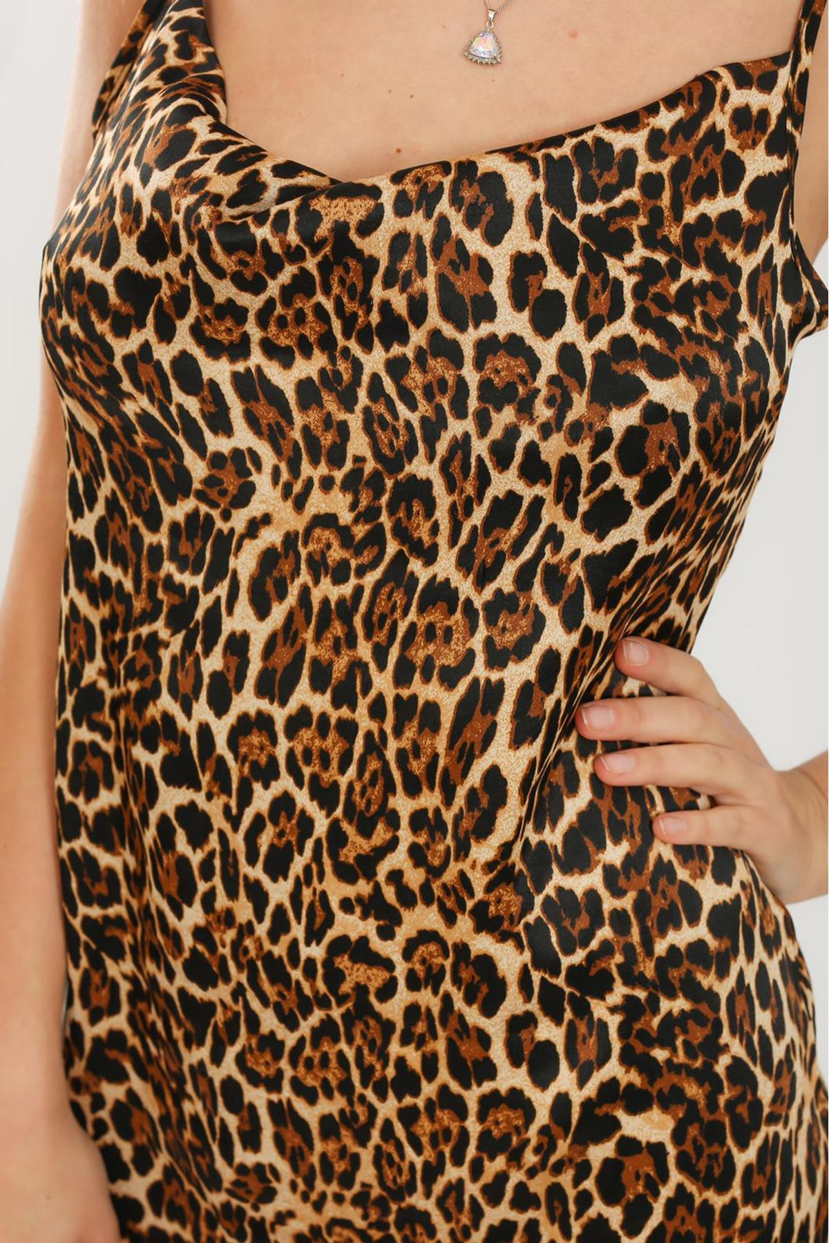 Leopar Desen Askılı Elbise - LEOPAR