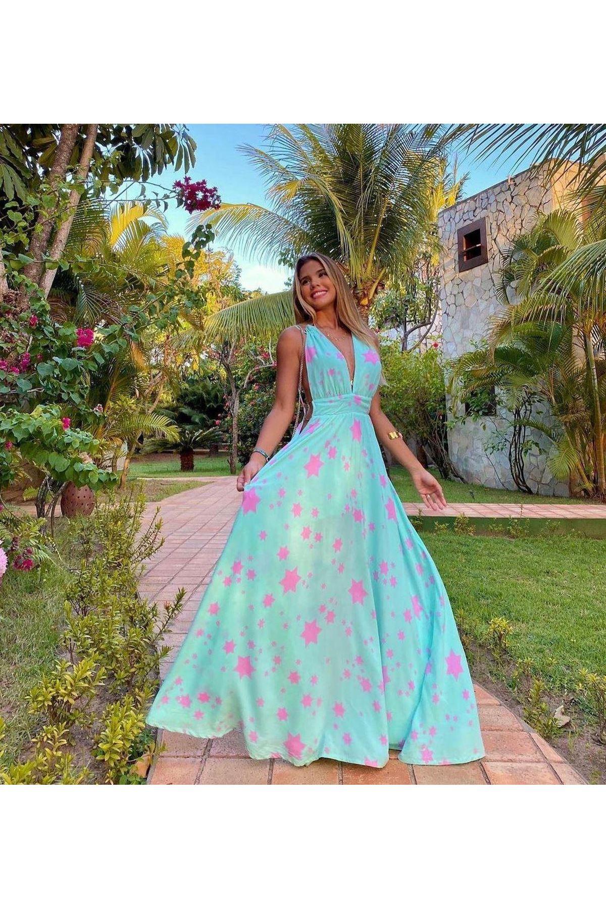 Sırt Dekolteli Halka Detaylı Astarlı Elbise  - SU YEŞİLİ