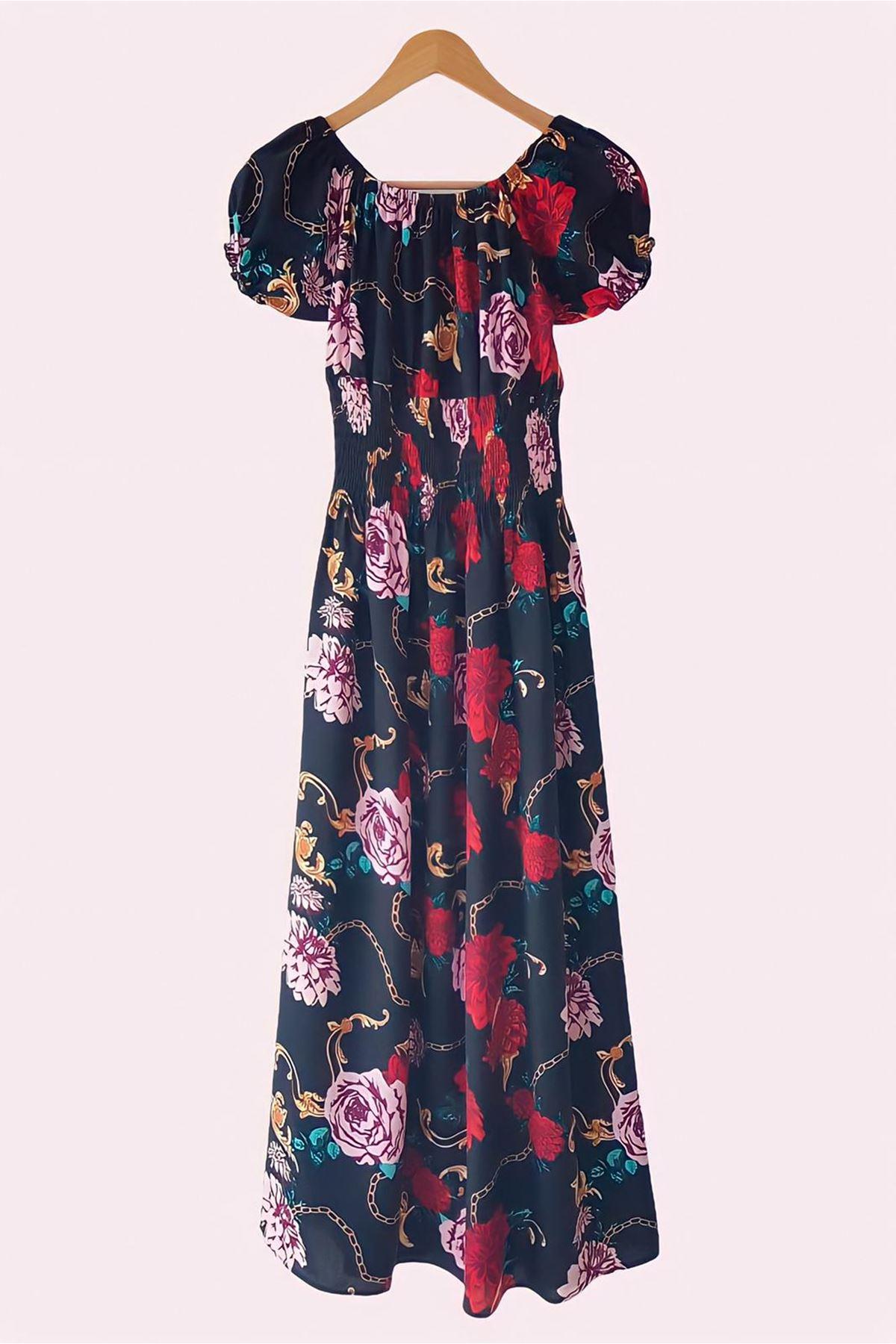 Madonna Yaka Zincir Desenli Elbise - SİYAH