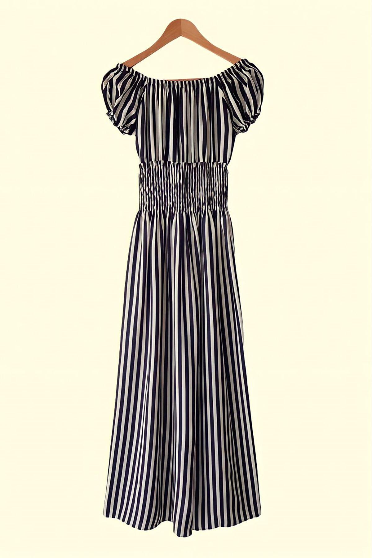 Madonna Yaka Çizgi Desen Elbise - SİYAH