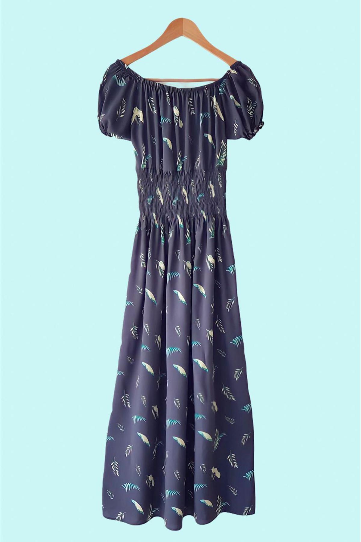 Madonna Yaka Gipeli Elbise - FÜME