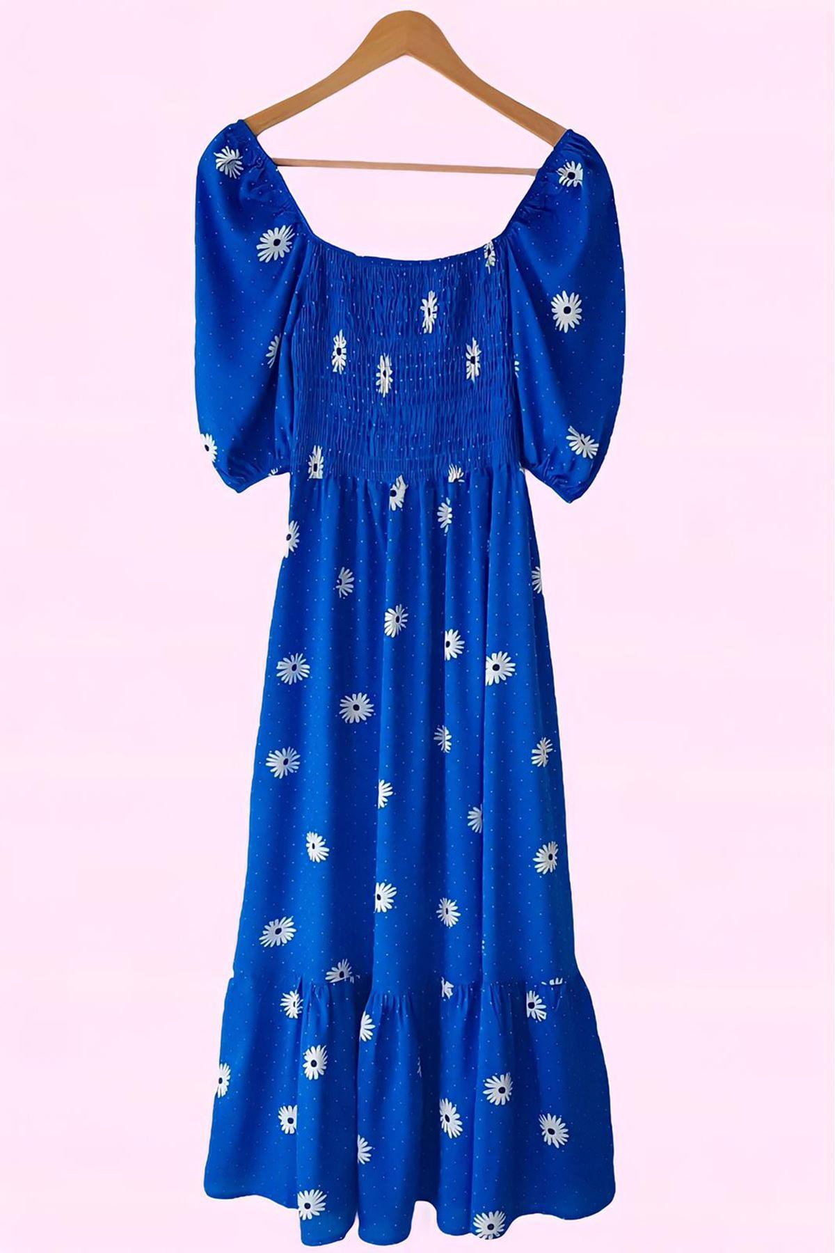 Papatya Desen Gipeli Elbise - MAVİ
