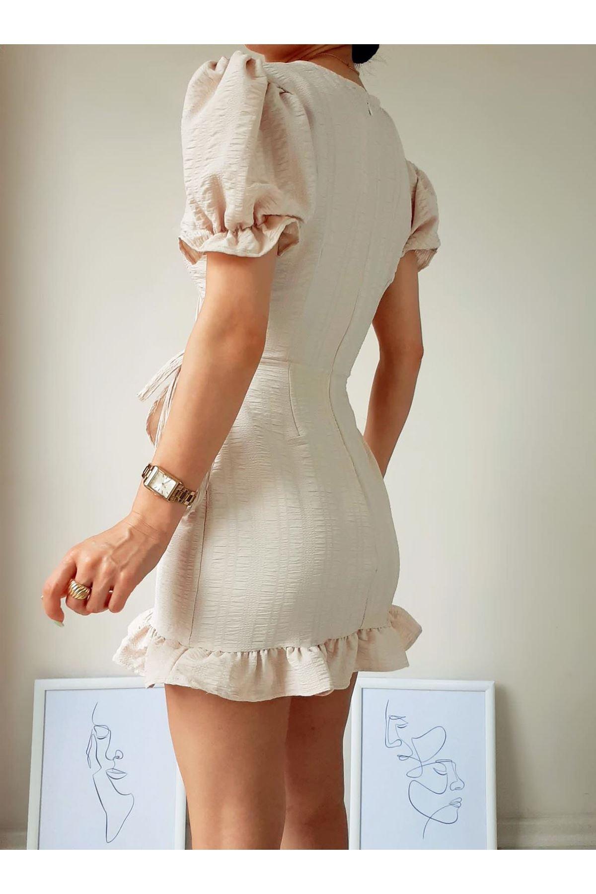 Prenses Omuz Bel Bağlamalı Elbise - EKRU