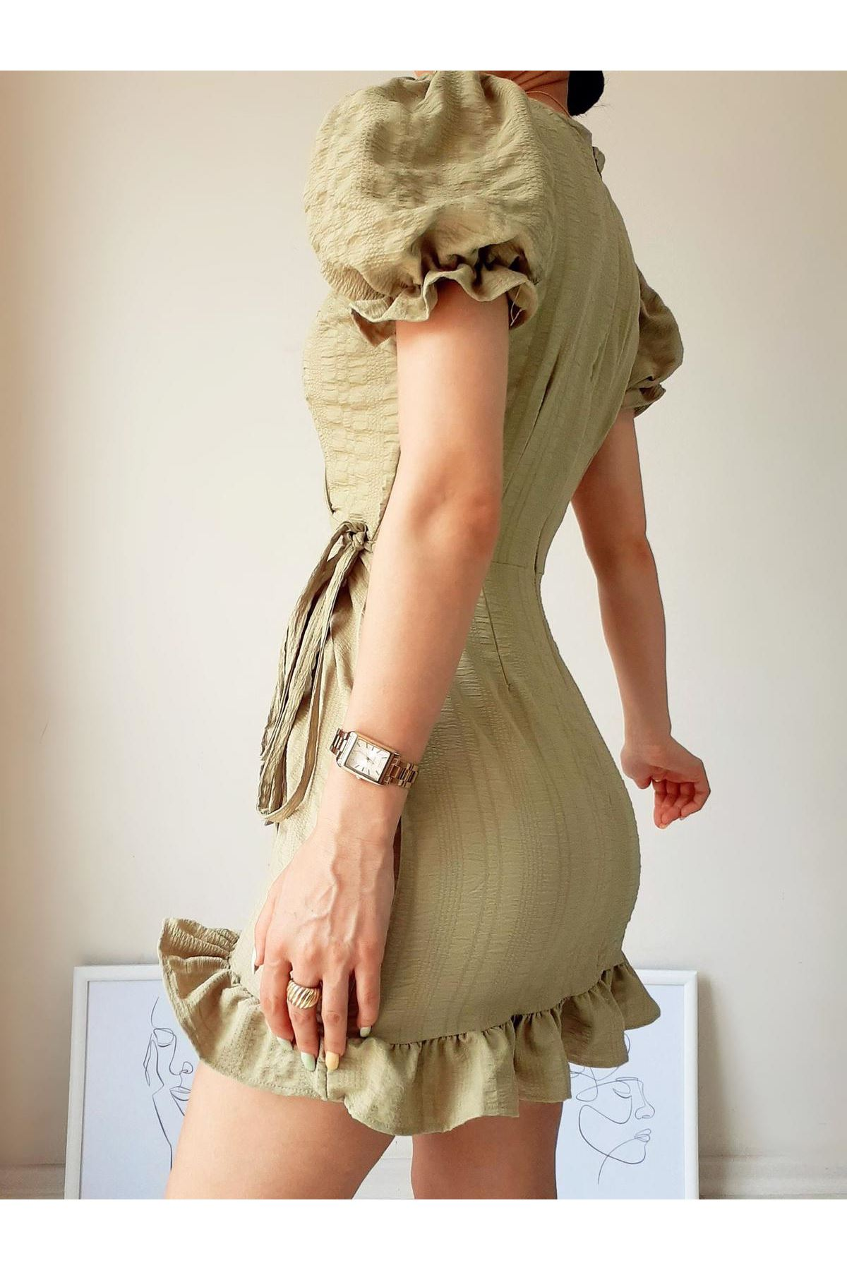 Prenses Omuz Bel Bağlamalı Elbise - HAKİ
