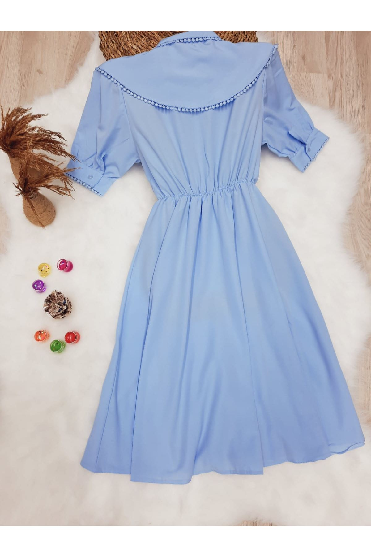 Yaka Detaylı Poplin Gömlek Elbise - MAVİ