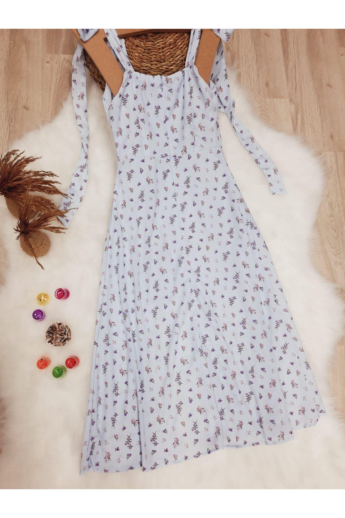 Yırtmaç Detaylı Omuz Bağlamalı Elbise - MAVİ