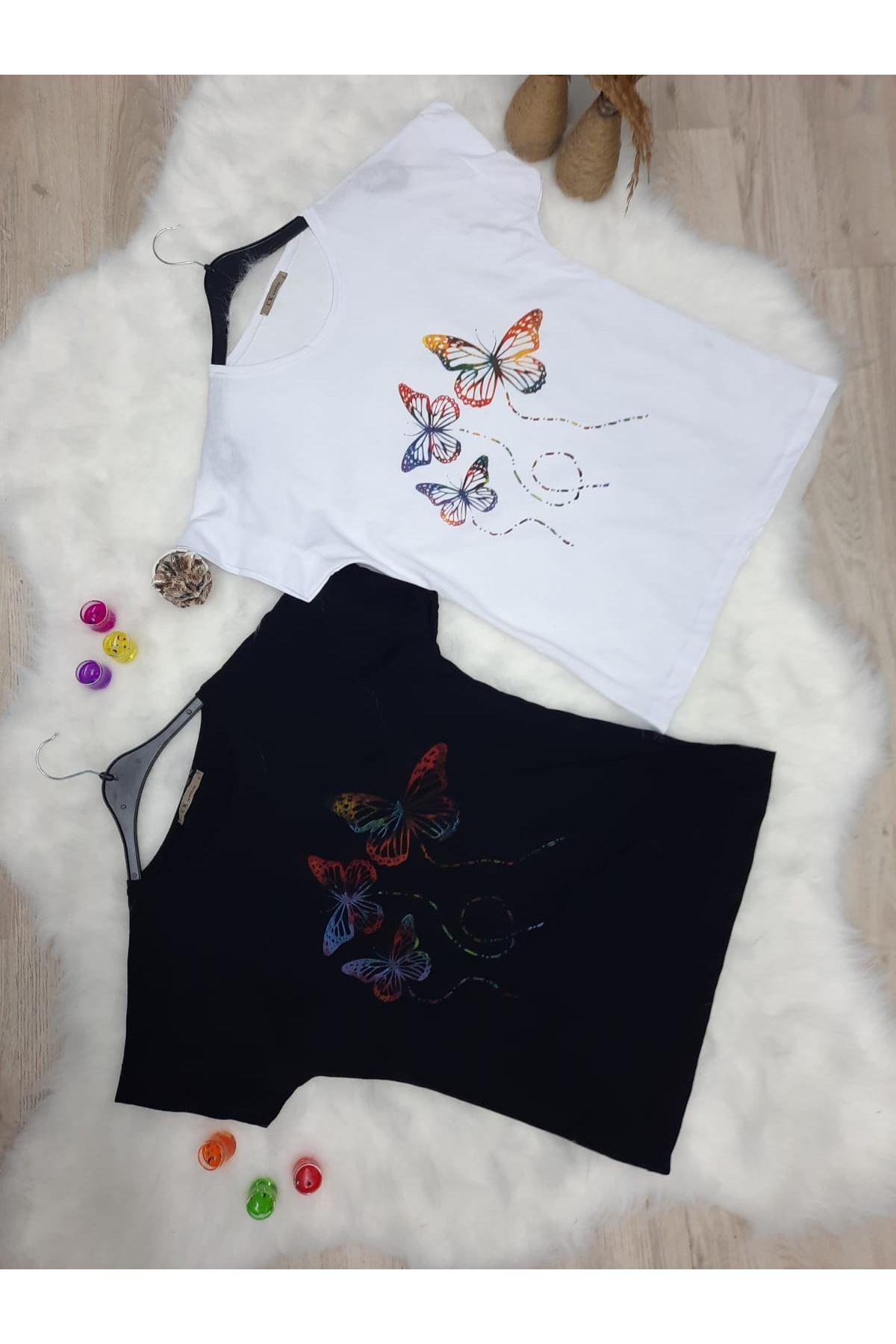 Kelebek Baskılı Tshirt - BEYAZ
