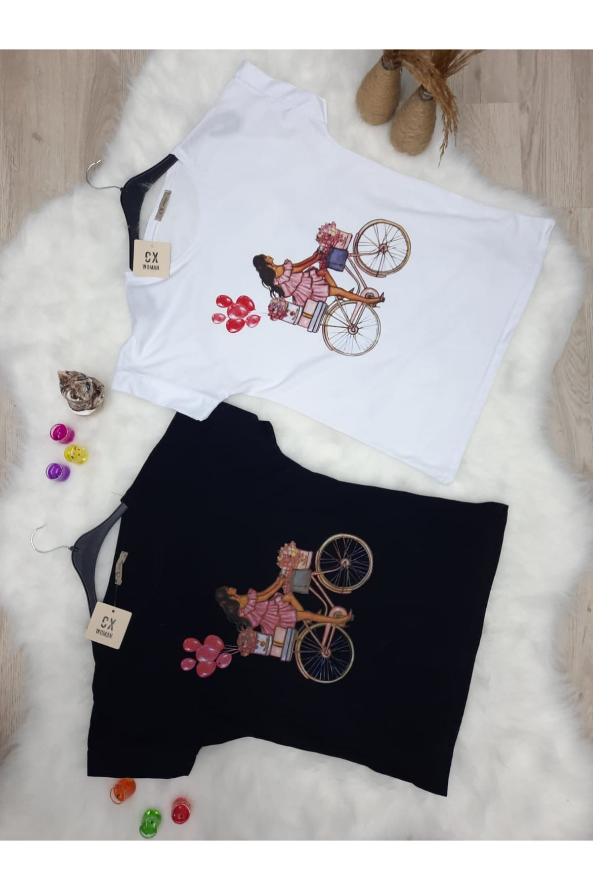 Bisiklet Baskılı Tshirt - BEYAZ