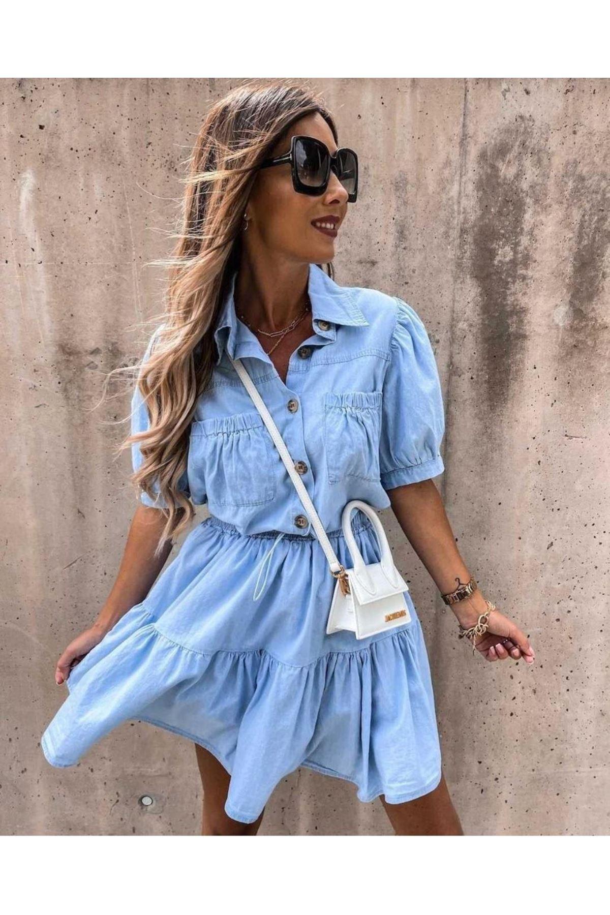 Garnili Cep Detaylı Kot Elbise - MAVİ