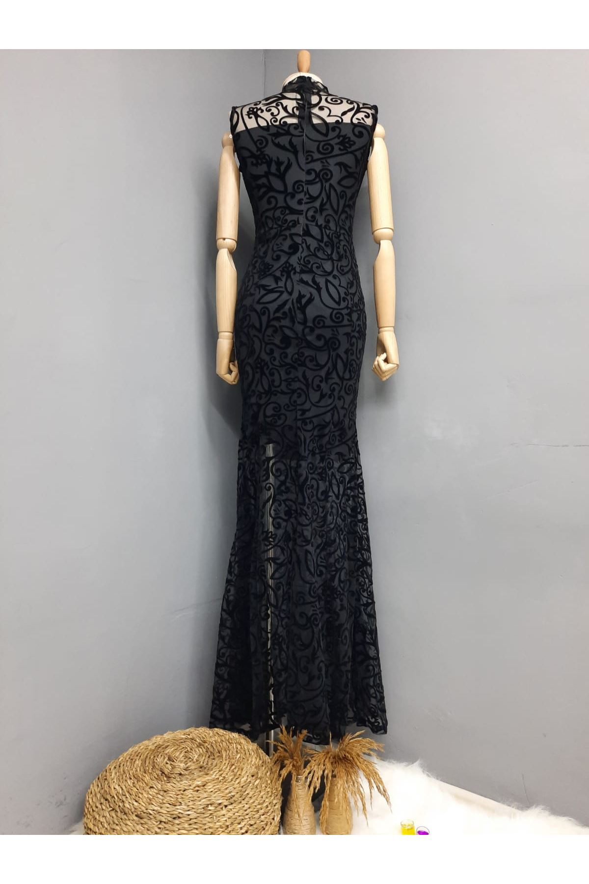 Brode Kumaş Maxi Elbise - SİYAH
