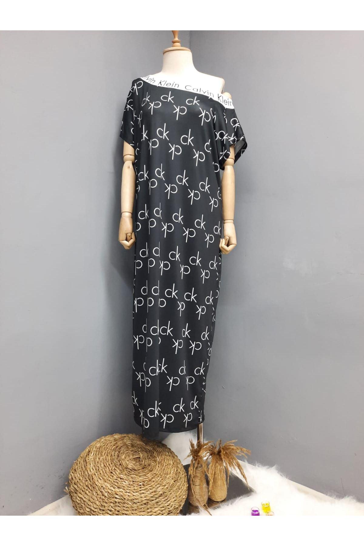 CK Model Omuz Lastikli Maxi Elbise - SİYAH