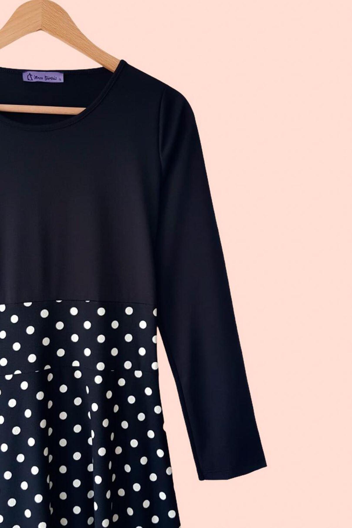 Uzun Kol Puanlı Maxi Elbise - SİYAH