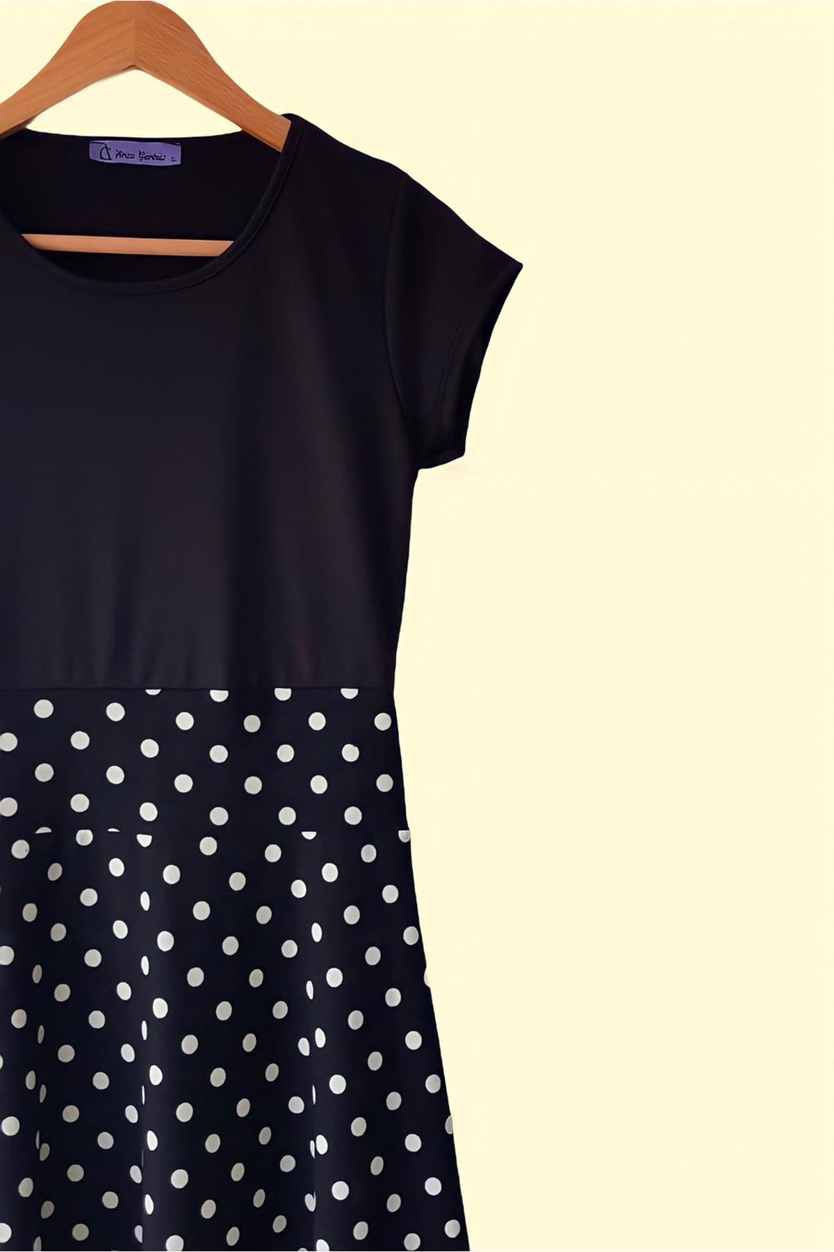 Puan Desen Maxi Elbise - siyah