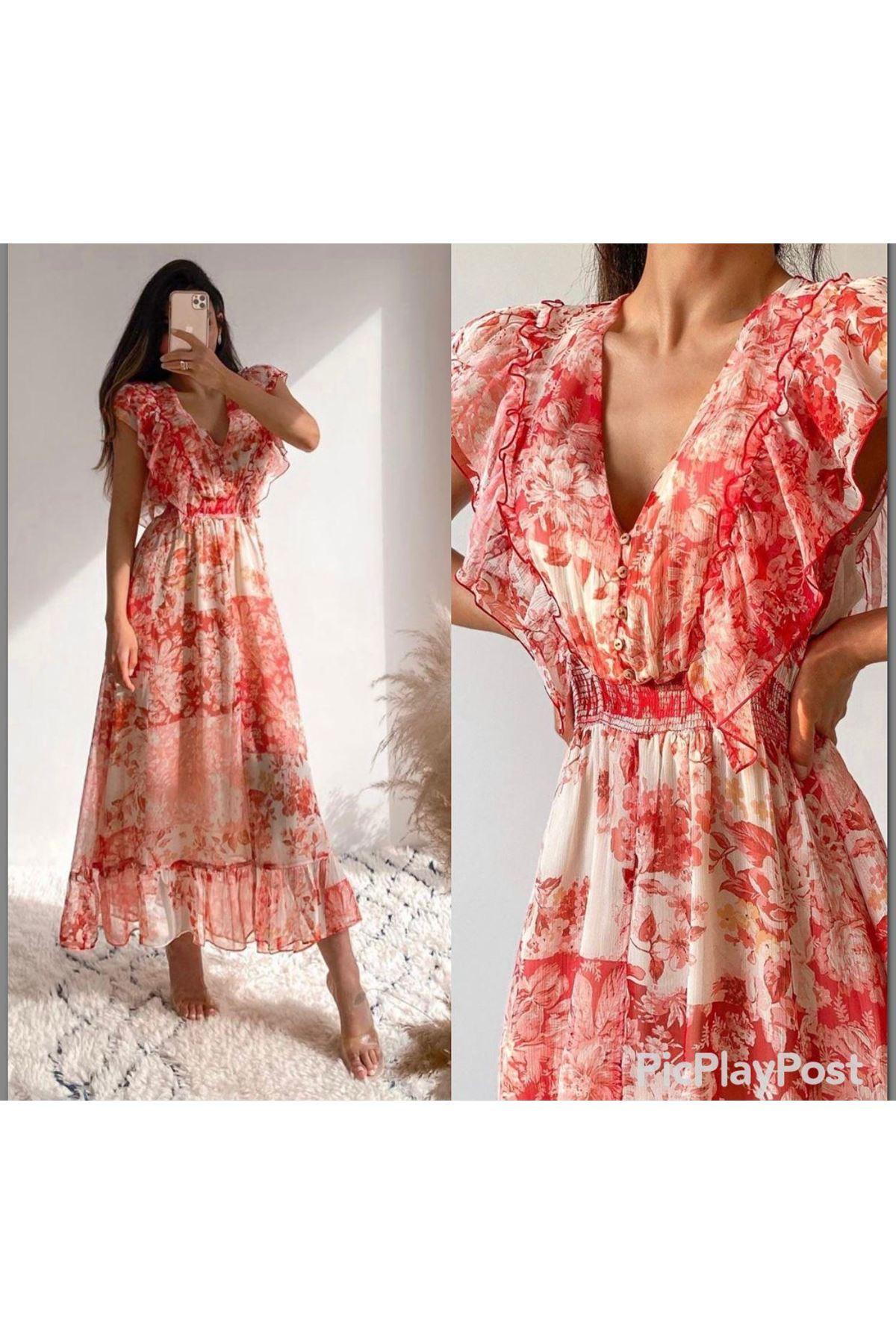 ZR Model Gipe Detay İthal Şifon Elbise - MULTİ