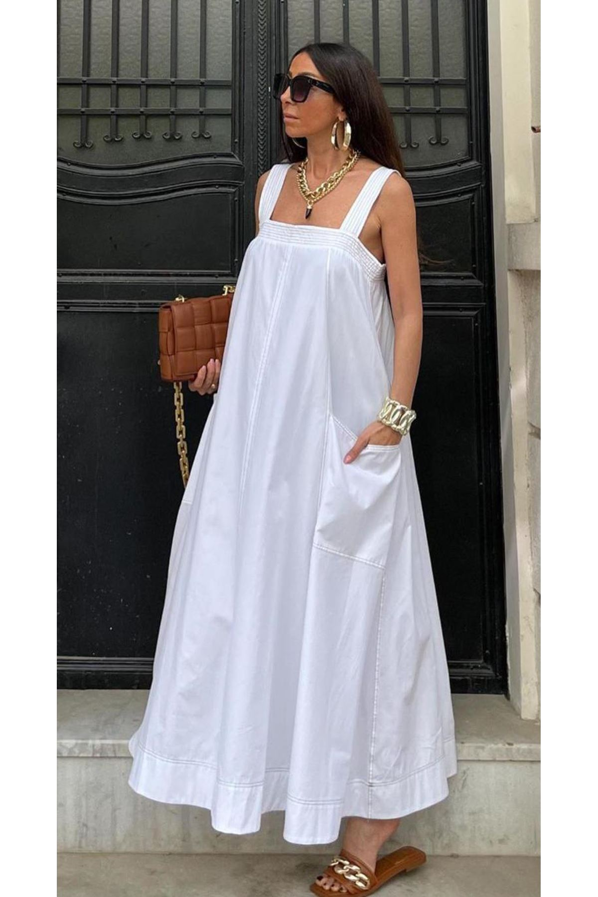 Cep Detaylı Vual Dokuma Elbise - BEYAZ
